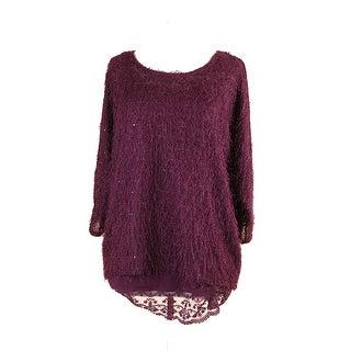 Alfani Cranberry Fuzzy Sequin Lace-Hem Sweater S
