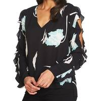 1.STATE Women's Large Floral Cold Shoulder Blouse