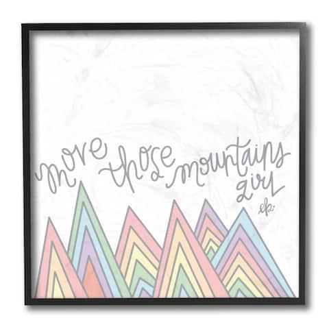 Stupell Industries Move Mountains Phrase Geometric Rainbow Peaks Framed Wall Art