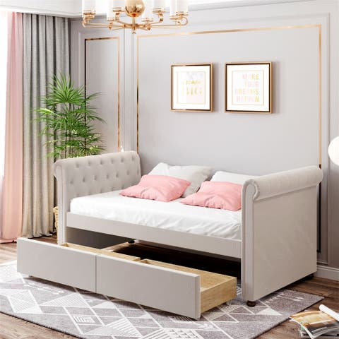 Merax Twin Size Upholstered daybed with Drawers, Wood Slat Support