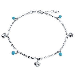 Bling Jewelry Reconstituted Turquoise Bead Seashell Ankle Bracelet 925 Silver