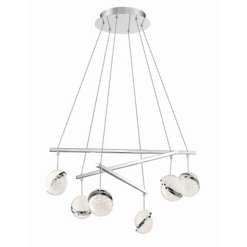 "Kovacs P1446-L Silver Slice 6 Light 30"" Wide LED Crystal Chandelier - Chrome"