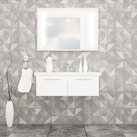 "Aspe 40"" Bathroom Vanity and Ceramic Sink with LED Mirror"