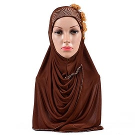 Muslim Flower Zicron Scarf Kerchief Hat bright brown