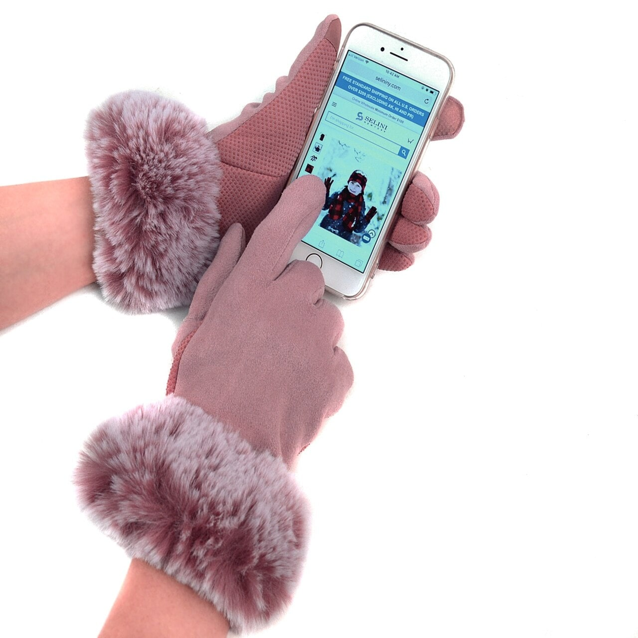 WOMENS LADIES FAUX SUEDE TOUCH SCREEN FAUX FUR FLUFFY CUFF WINTER WARM GLOVES