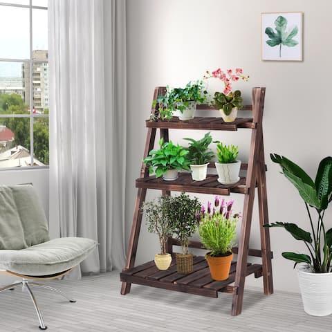 Costway 3 Tier Outdoor Wood Design Flower Pot Shelf Stand Folding