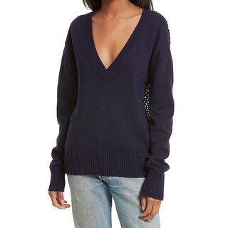 Open Ceremony Navy Womens Crochet-Back Pullover Sweater