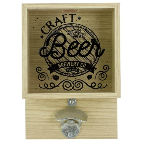 """10.25"""" Wood and Glass 'Craft Beer Brewery Co' Bottle Opener with Storage Box"""
