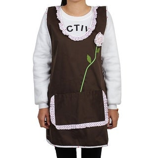 Family Polyester Dot Pattern Rose Decor Cooking Apron Bib Dress Coffee Color