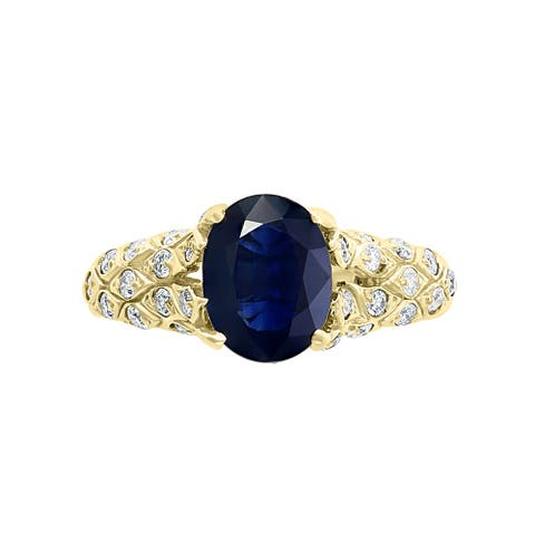 Effy Jewelry Blue Sapphire Engagment Ring with Diamonds in 14K Yellow Gold , 2.4 TWC Size- 7