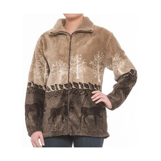 Black Mountain Ladies Plush Fleece Outdoor Print Jacket