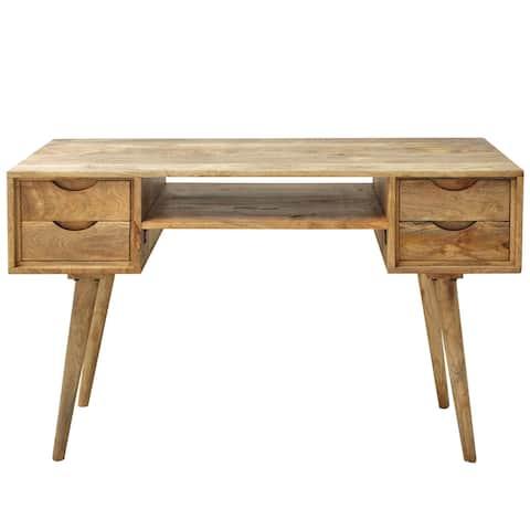 "Marlon 45"" Wide Mango Wood 4 Drawer Desk"
