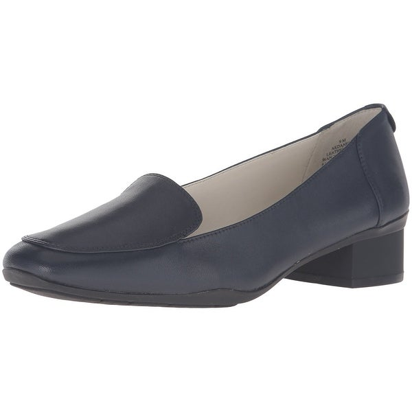Anne Klein Womens DANEEN Leather Square Toe Loafers