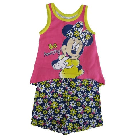 "Disney Baby Girls Yellow Pink Minnie ""Be Amazing"" Top 2 Pc Shorts Outfit"