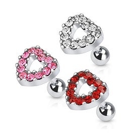 Heart Multi Paved Top 316L Surgical Steel Tragus/Cartilage Barbell (Sold Ind.)