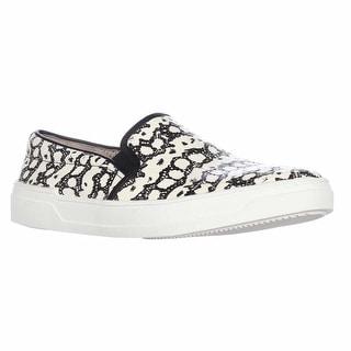 Via Spiga Galea Slip-On Casual Sneakers, Black White Snake