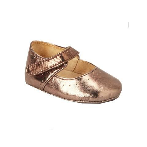 Pazitos Girls Raisin Metallic Leather Sweet Mary Jane Shoes