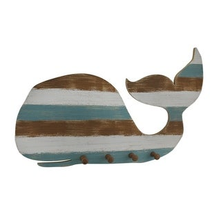 Striped Beachwashed Wooden Whale Wall Hook Hanging