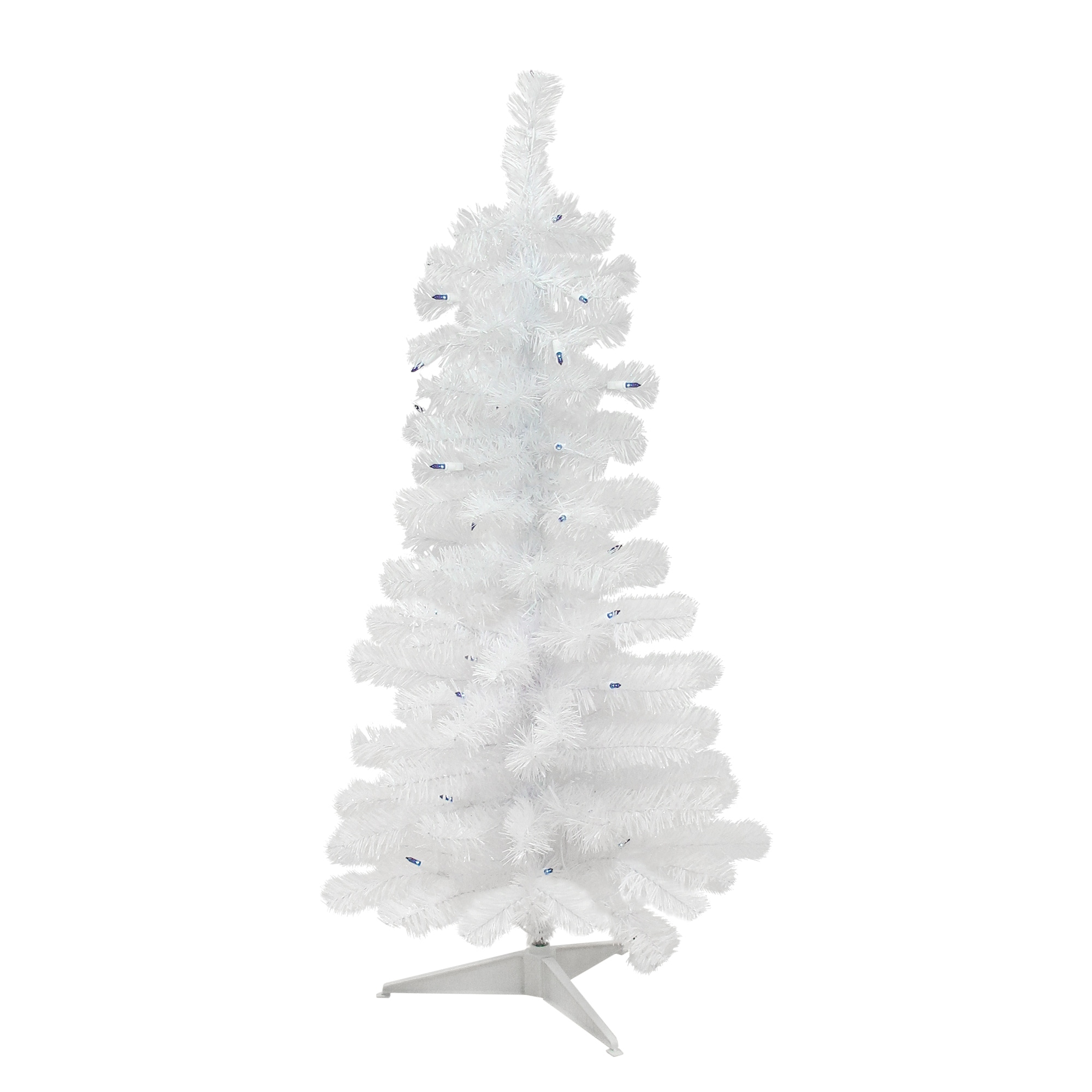 3\' Pre-Lit White Pine Slim Artificial Christmas Tree - Blue Lights - 3 Foot