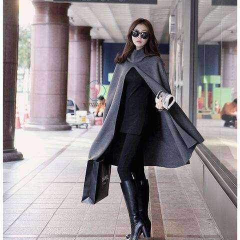 Student Woolen Cloak Coat Female New Shawl Cloak Hooded Woolen Coat