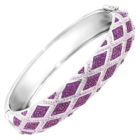 Crystaluxe Harlequin Bangle Bracelet with Swarovski Crystals in Sterling Silver - Purple