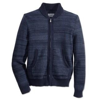 American Rag NEW Navy Blue Mens Size Large L Full Zip Stripe Sweater