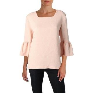 Calvin Klein Womens Blouse Textured Square Neck