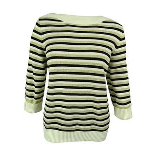 Karen Scott Women's Metallic Stripe Pullover Sweater
