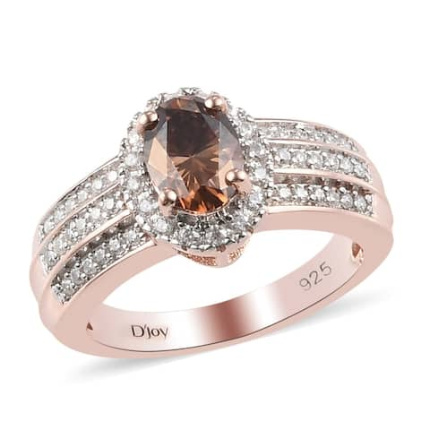 Rose Gold Over 925 Sterling Silver Moissanite Halo Ring Ct 1.1