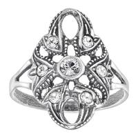 Van Kempen Art Nouveau Ring with Swarovski Elements Crystals in Sterling Silver - White