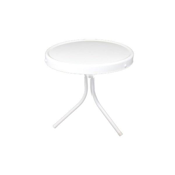 "20"" White Retro Metal Tulip Outdoor Side Table"