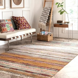 Link to The Curated Nomad Brinhall Tribal Stripe Tassels Area Rug Similar Items in Rugs