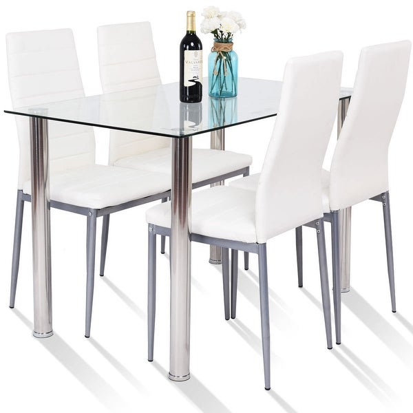 Dining Sets 5 Piece Dining Table Set 4 Chairs Glass Metal Kitchen Room Breakfast Furniture Home Garden Vibranthns Lk