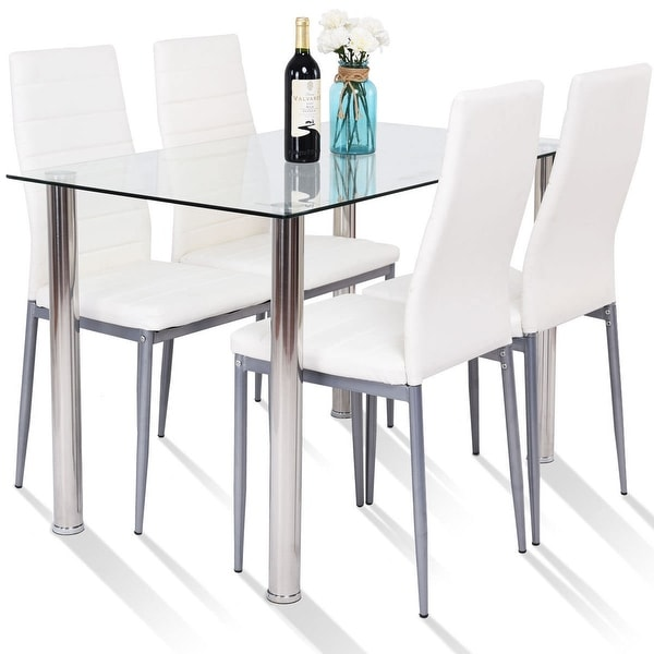 Shop Gymax 5 Piece Table Chair Dining Set Glass Metal
