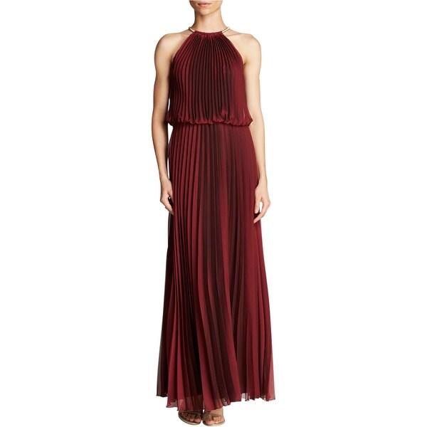 Aqua Womens Evening Dress Knife Pleat Sleeveless