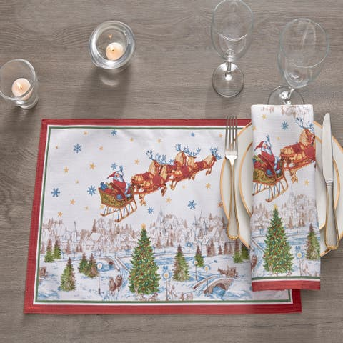 """Santa's Snowy Sleighride Placemat, Set of 4 - 13""""x19"""""""