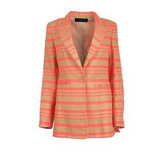 Thakoon Womens Linen Blend Striped One-Button Blazer - 2