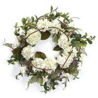 "Pack of 2 Decorative White and Green Artificial Hydrangea Wreaths 22"" - Unlit"