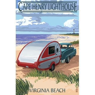 Virginia Beach, Virginia - Cape Henry Lighthouse & Camper - Lantern Press Artwork (Poker Playing Cards Deck)