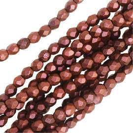 Czech Fire Polished Glass, 3mm Faceted Round Beads, 50 Piece Strand, Copper Rose Polychrome