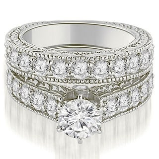 18kt White Gold 2.65 ct.tw Antique Cathedral Round Cut Diamond Engagement Set HI, SI1-2