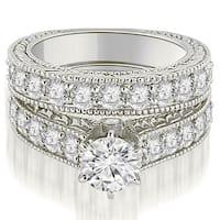 3.15 CT.TW Antique Cathedral Round Cut Diamond Engagement Set - White H-I