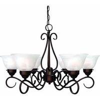Volume Lighting V2446 Minster 6 Light 1 Tier Chandelier with Alabaster Glass Bel