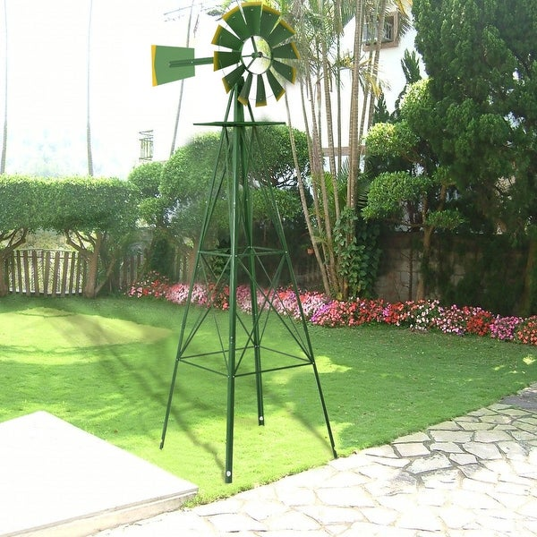 Awesome Costway 8Ft Tall Windmill Ornamental Wind Wheel Silver Green And Yellow  Garden Weather Vane