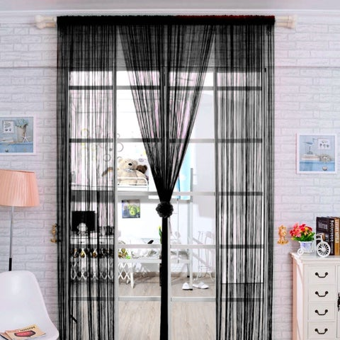 Home Solid Rod Pocket String Curtains Panel Drapes for Window Door Wall Decor