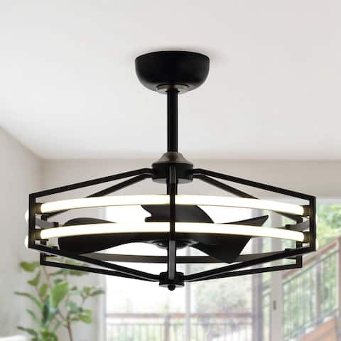 Indoor Black Downrod Mount Chandelier Ceiling Fan with Light and Remote Control Reversible