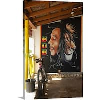 Premium Thick-Wrap Canvas entitled Bob Marley mural at Blazer on the Bay bar and restaurant - Multi-color