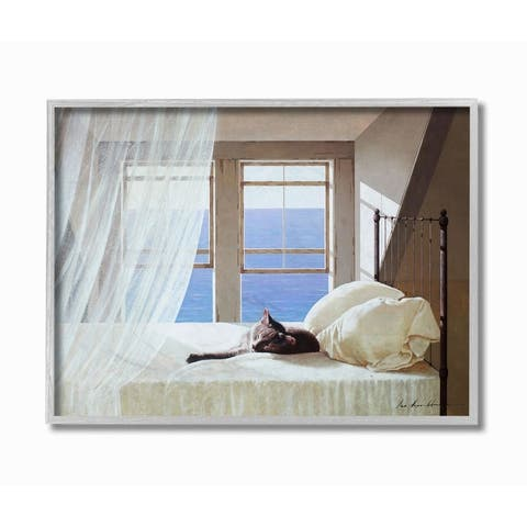 Stupell Industries Cat Resting on White Oceanside Bed Nautical Painting Framed Wall Art