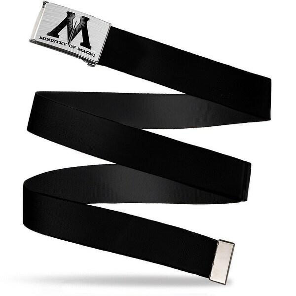 M Ministry Of Magic Symbol Brushed Silver Black Cam Black Webbing Web Belt