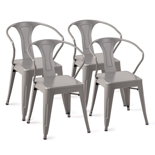 Set Of 4 Kitchen Chairs: Shop Costway Set Of 4 Style Metal Chairs Arm Chair Kitchen